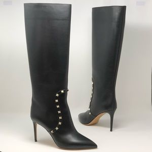 Valentino Rockstud Knee High Pointed Toe Boots